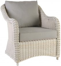 Block & Chisel Java white rattan lounge chair
