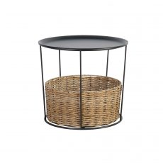 metal and wicker side table
