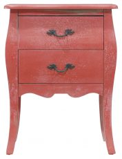 Block & Chisel red distressed 2 drawer side table