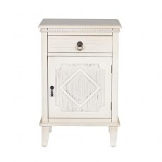Off white bedside table with Gustavian style. 1 drawer with cabinet