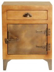 Block & Chisel mango wood bedside table with iron door and legs