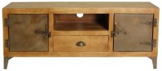 Block & Chisel mango wood TV stand with iron door and legs