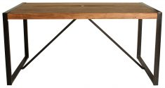 Block & Chisel rectangular wooden dining table with iron pipe and egs