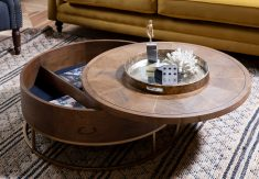 Round oak coffee table with storage
