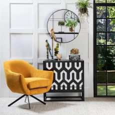 Jett Cabinet with geometric mirror and black doors