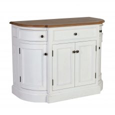 Rounded bathroom vanity with wood top