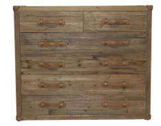 Wood 6 drawer chest with leather handles