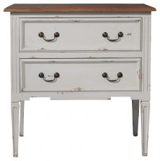Block & Chisel FPS 2 draw bedside table antique white base with clay finish weathered oak top