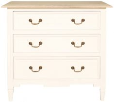 Block & Chisel white washed oak 3 drawer chest with flat white base