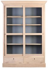Block & Chisel solid natural oak glass fronted bookcase