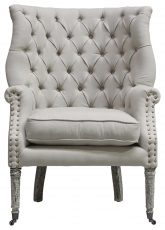 Block & Chisel cream linen upholstered button tufted occasional chair