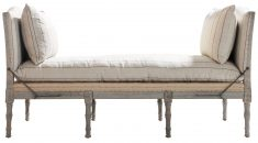 Daybed with 75% linen and oak wooden legs