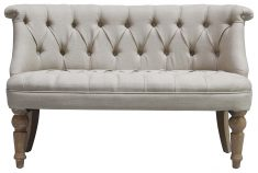 Block & Chisel cream linen upholstered button tufted loveseat
