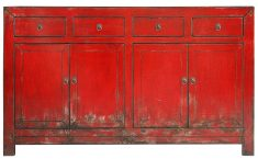 Block & Chisel red rustic Chinese sideboard