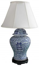 Block & Chisel blue and white Chinese lamp with cream shade