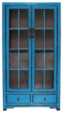 Block & Chisel blue plywood and pine wood cabinet