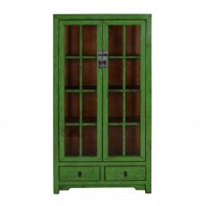 green lacquered chinese cabinet with glass doors