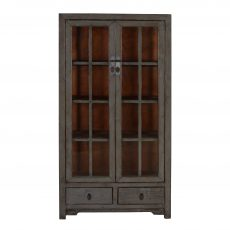 grey lacquered chinese cabinet with glass doors