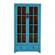 blue lacquered chinese cabinet with glass doors