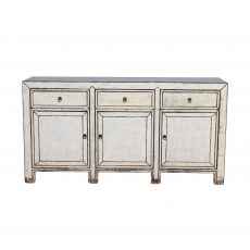 White Chinese sideboard with 3 doors and 3 drawers