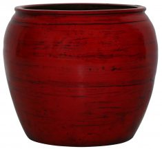 Block & Chisel round red decorative pot