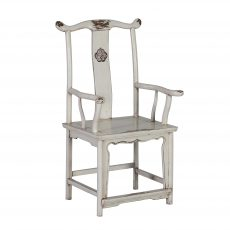 white asian inspired chair