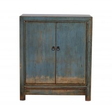 blue distressed painted chinese cabinet with 2 doors