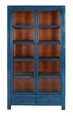 cobalt blue asian inspired cabinet with glass frame doors