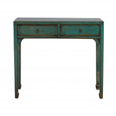 2 drawer chinese console in blue