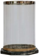 Block & Chisel round hurricane glass lantern with marble base