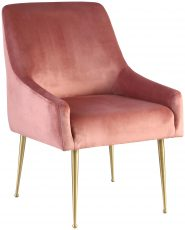 Block & Chisel pink velvet upholstered dining chair with brass plated steel tube legs