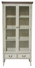 Block & Chisel cream 2 drawer cabinet with glass doors