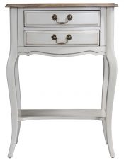 Block & Chisel cream 2 drawer french bedside with lower shelf