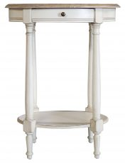 Block & Chisel cream oval side table with draw & lower shelf