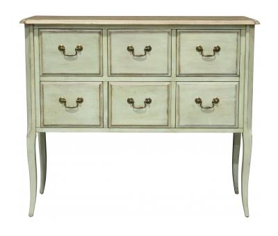 Block & Chisel green 6 drawer rectangular chest