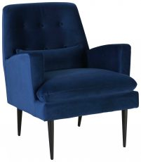 Block & Chisel blue velvet upholstered dining chair