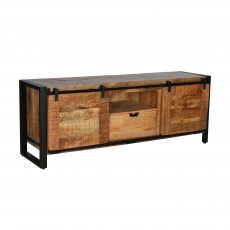 Rustic wood and metal TV unit with two wooden sliding doors.