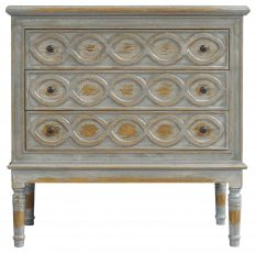 Block & Chisel grey distressed french inspired 3 drawer chest