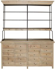 Block & Chisel weathered old fir wood bookshelf with iron frame top