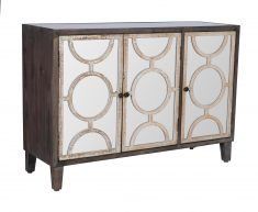 Serena Sideboard with 3 mirrored doors and geometric pattern