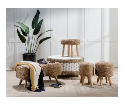 hyacinth natural stool with teak legs
