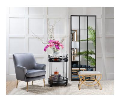 Ursula Stool - Grey stool with metal geometric gold legs