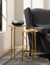 gold side table with mirror top