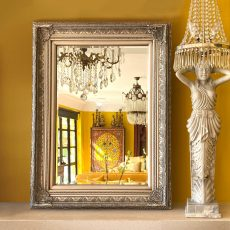 Block & Chisel rectangular mirror with antique silver bevel ornate frame