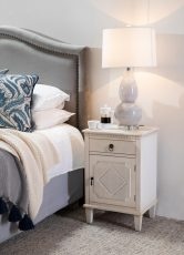 Grayson Silver headboard with nail head trim and rubber wooden feet