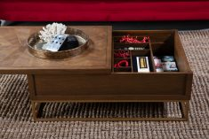 Oak coffee table on gold frame with storage