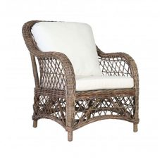 Rattan armchair with seat and back cushion