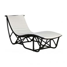 Block & Chisel black rattan lounger with cushion