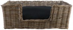 Block & Chisel rectangular rattan dog basket with black cushion