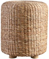 Block & Chisel woven water hyacinth stool with teak wood feet